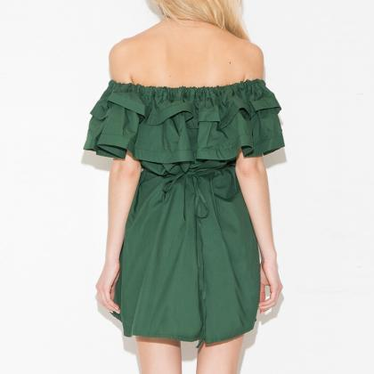 Summer Double Ruffled Strapless Dre..