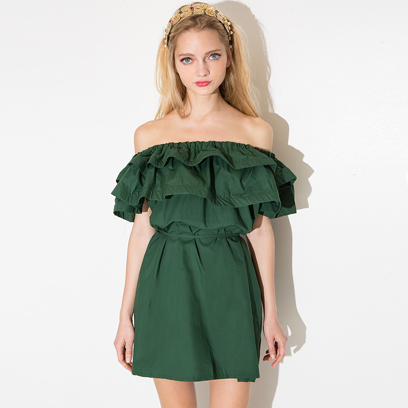 Summer Double Ruffled Strapless Dress Slash Neck Strappy Dress