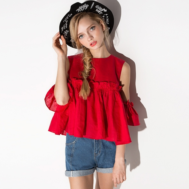 Sweet Strapless Loose Top with Back Zipper T-shirt Top
