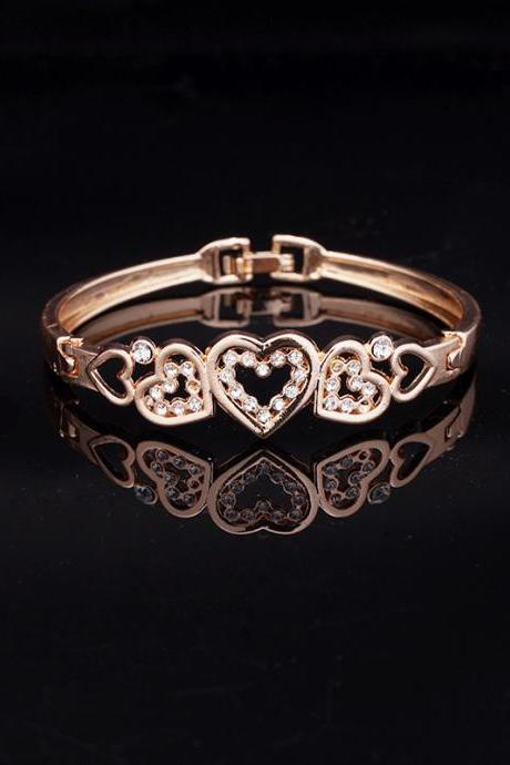 Jewelry Cute Rose Gold Five Hollow Heart Carve Crystal Charming Bangle Bracelet Women 2.2""