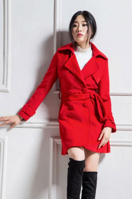 Custom Made Women wool winter jacket slim medium-long wool coat double breasted cashmere outerwear