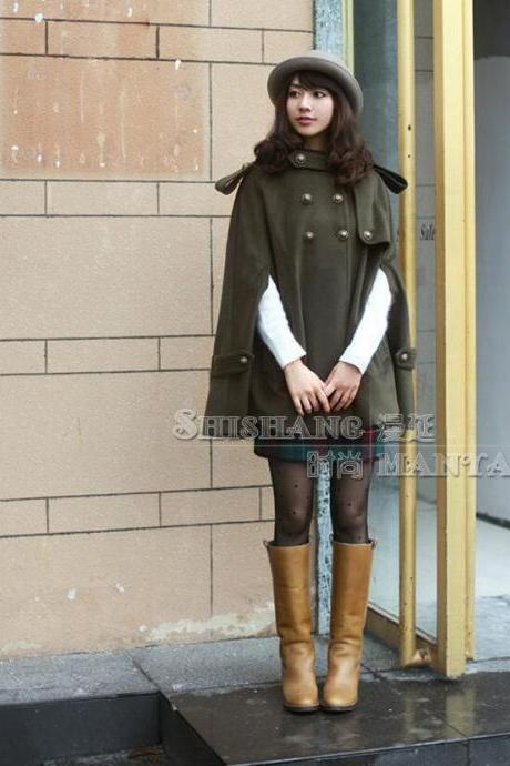Army Green Women Cape Coat