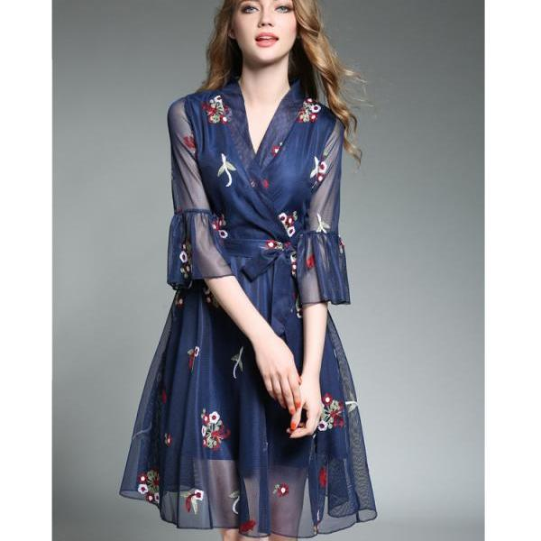sexy V-collar classic embroidery slim A-line dress(3rNH5s)