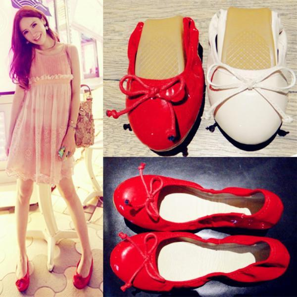 sweet bowknot red shoes Egg roll women shoes(3hQ8zX)