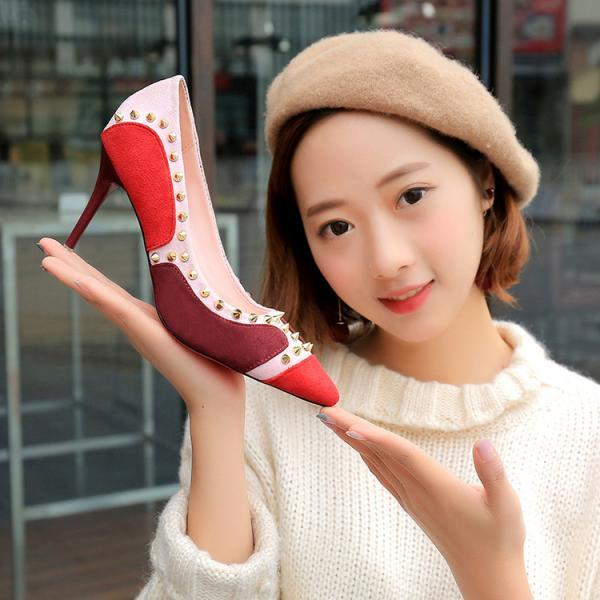 sexy thin heel fashion rivet pointed women shoes (4hXAho)